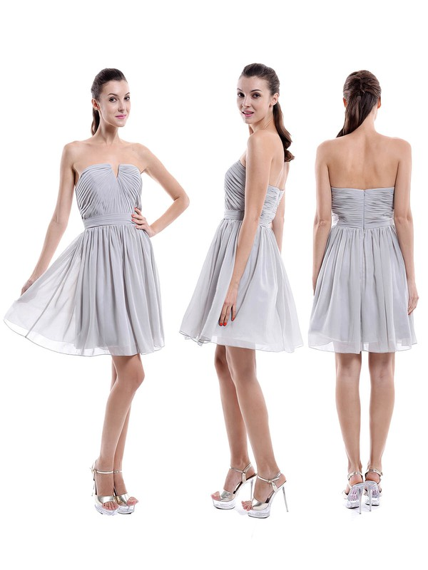 A-line Perfect Chiffon Short/Mini Ruched Strapless Bridesmaid Dresses #DOB01012876