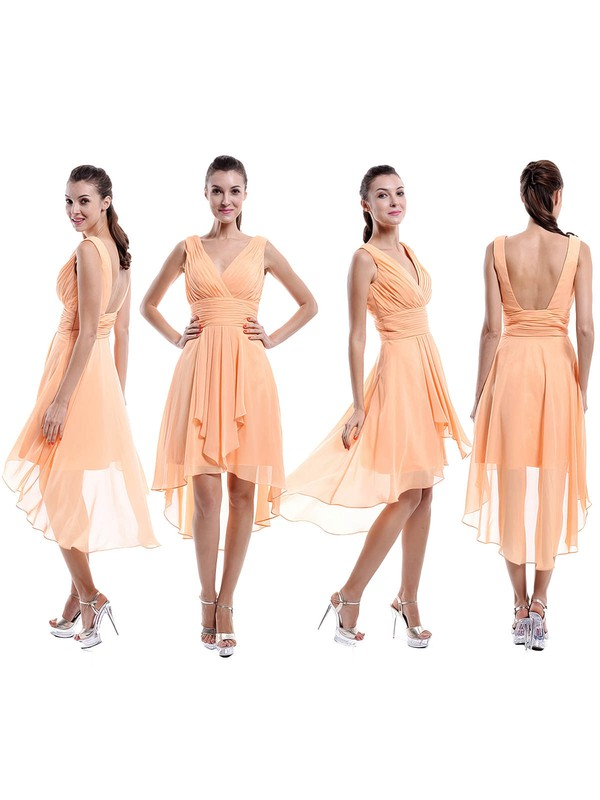 V-neck Chiffon Ruffles Different Backless Asymmetrical Bridesmaid Dresses #DOB01012877