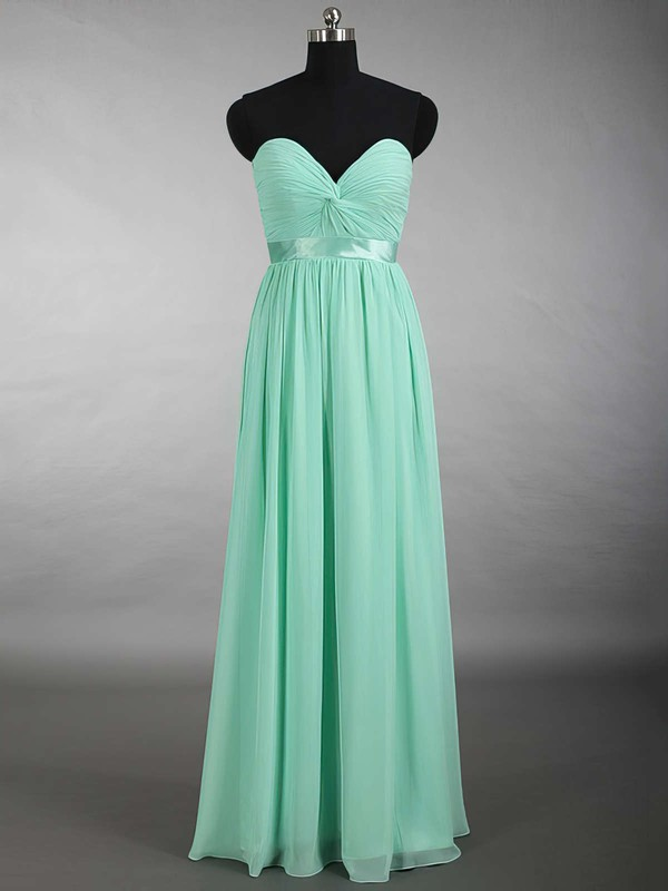 New Sweetheart Chiffon Sashes / Ribbons Floor-length Sage Bridesmaid Dress #DOB01012879