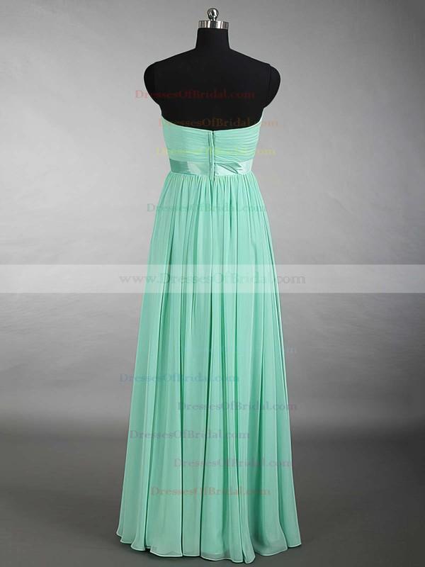 New Sweetheart Chiffon Sashes / Ribbons Floor-length Sage Bridesmaid Dress #DOB01012879