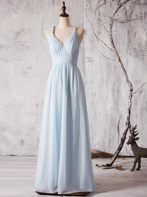 Chiffon Floor-length Ruffles Latest Backless V-neck Bridesmaid Dress #DOB01012880