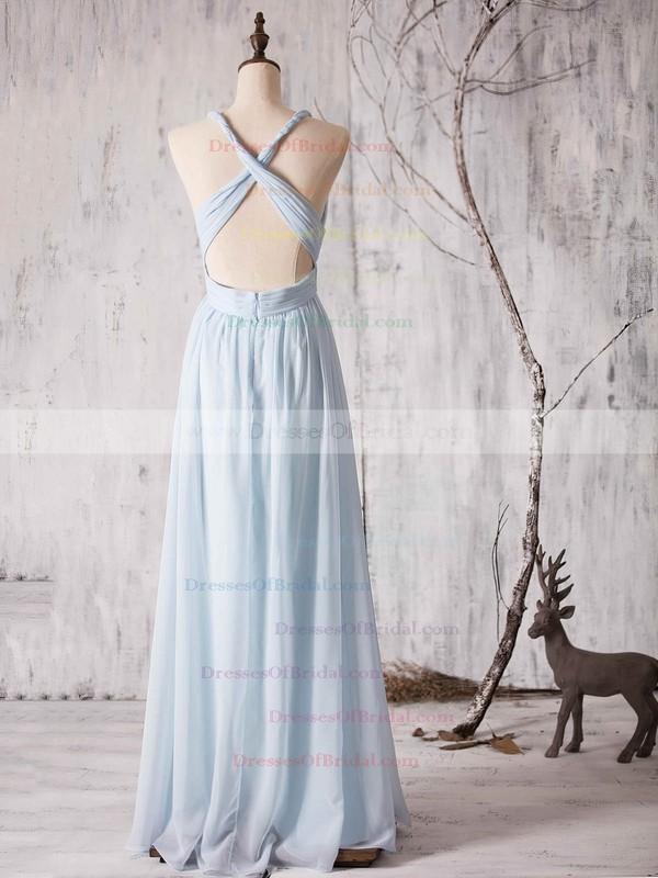 Chiffon Floor-length Ruffles Latest Backless V-neck Bridesmaid Dress #DOB01012880