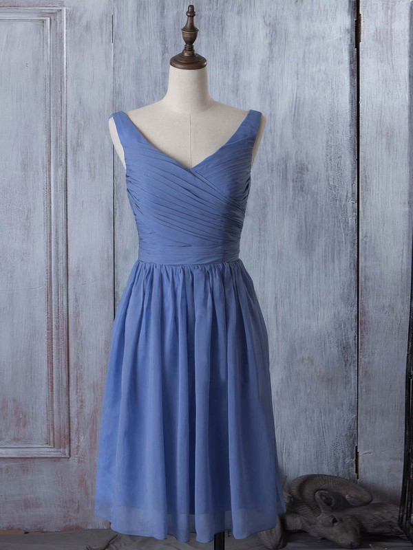 V-neck Chiffon Ruched Popular Knee-length Bridesmaid Dress #DOB01012881