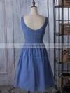 V-neck Chiffon Ruched Popular Knee-length Bridesmaid Dress #DOB01012881