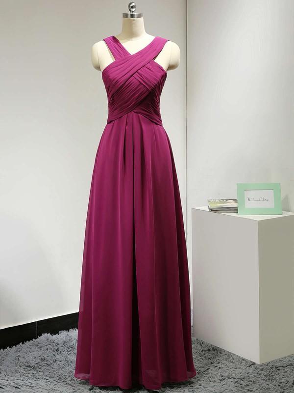 V-neck Chiffon Ruched A-line Exclusive Long Bridesmaid Dress #DOB01012882
