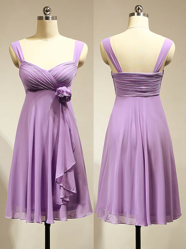 Cute Empire Chiffon Flower(s) Lavender Short/Mini Bridesmaid Dress #DOB01012883