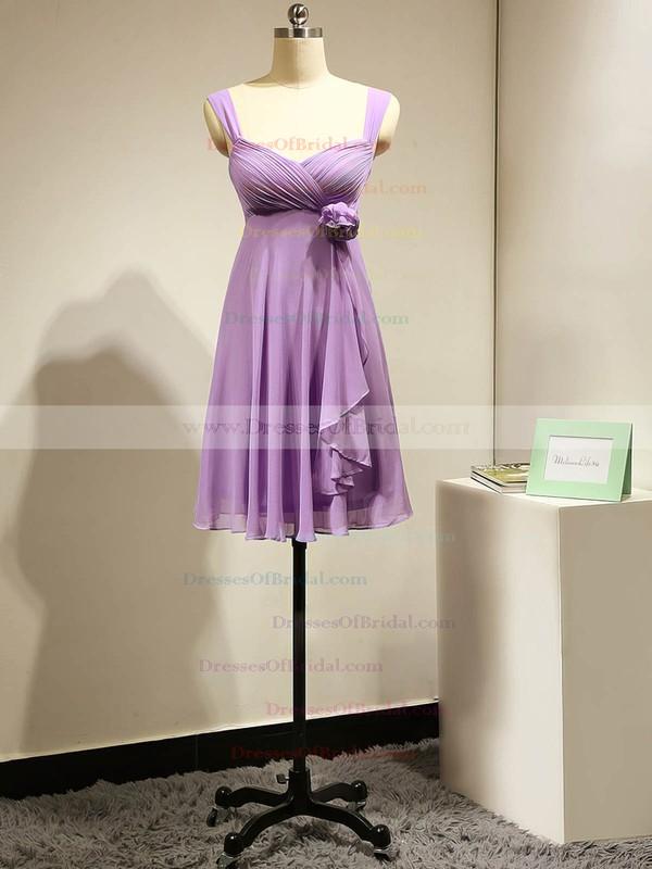 Cute Empire Chiffon Flower(s) Lavender Short/Mini Bridesmaid Dress #DOB01012883