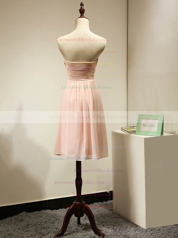 Sweetheart Chiffon Ruched Original Pink Short/Mini Bridesmaid Dress #DOB01012884
