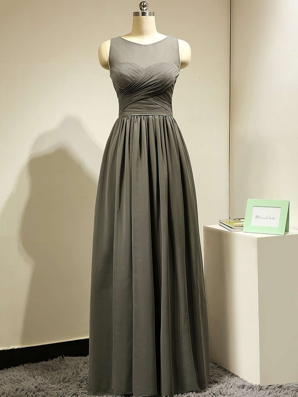 Scoop Neck Gorgeous Chiffon Tulle Ruffles Floor-length Gray Bridesmaid Dress #DOB01012885