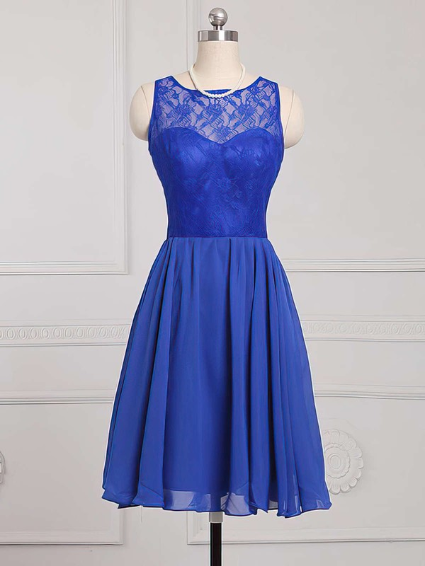 Boutique Royal Blue Scoop Neck Chiffon Lace Knee-length Bridesmaid Dress #DOB01012886