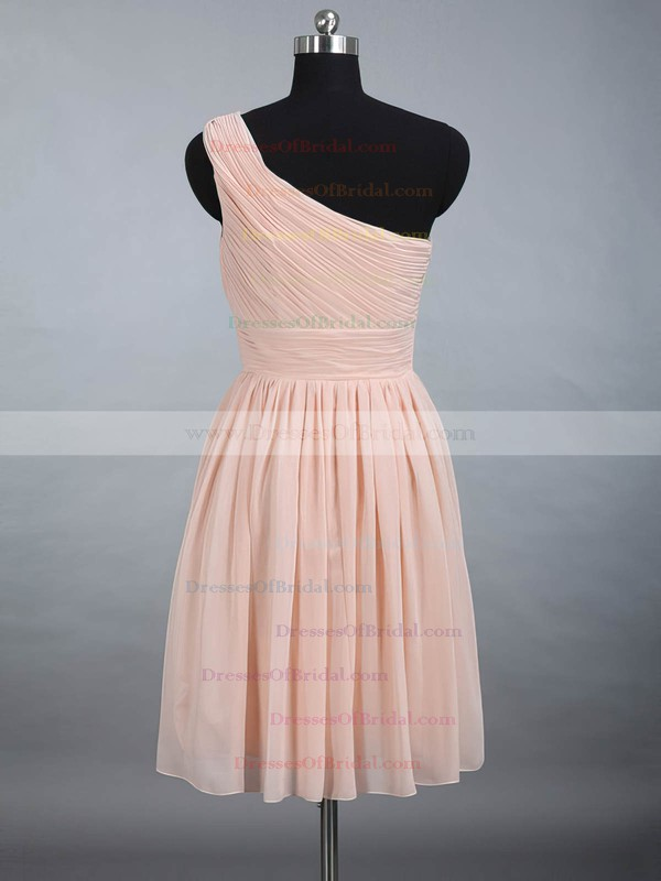 One Shoulder Prettiest Chiffon Ruched Pink Knee-length Bridesmaid Dress #DOB01012887