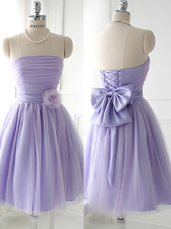 Strapless Satin Tulle Bow Good Lavender Short/Mini Bridesmaid Dress #DOB01012888