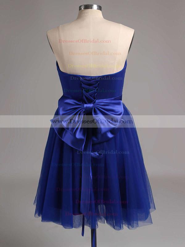 Strapless Satin Tulle Bow Good Lavender Short/Mini Bridesmaid Dress #DOB01012888