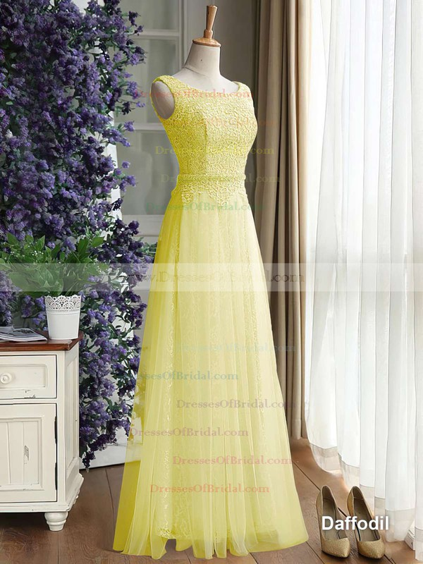 Scoop Neck Lace Tulle Ruffles Floor-length Newest Bridesmaid Dress #DOB01012889