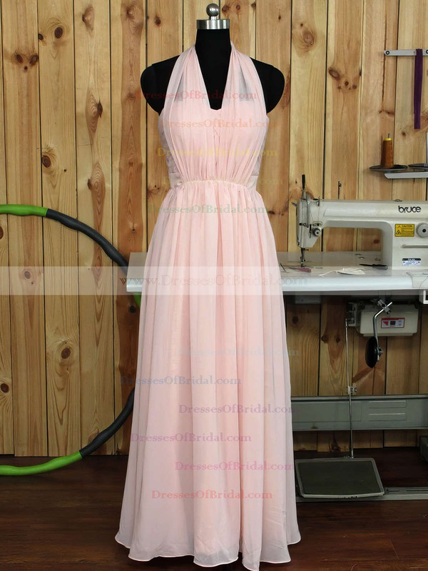 Great Sweetheart Chiffon Ruffles Floor-length Pink Bridesmaid Dress #DOB01012890