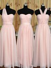 Great Sweetheart Chiffon Ruffles Floor-length Pink Bridesmaid Dress #DOB01012890