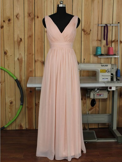 V-neck Floor-length Ruched Chiffon Pink Backless Bridesmaid Dress #DOB01012891