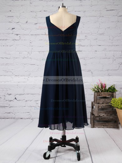 Pink V-neck Chiffon Ruffles Fashion Tea-length Bridesmaid Dress #DOB01012892