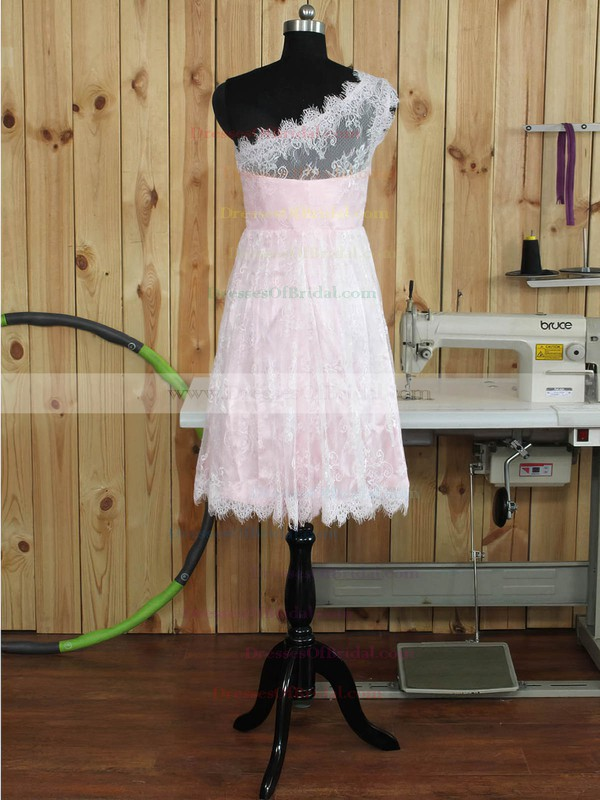 Famous One Shoulder Lace Ruffles Knee-length Bridesmaid Dress #DOB01012893