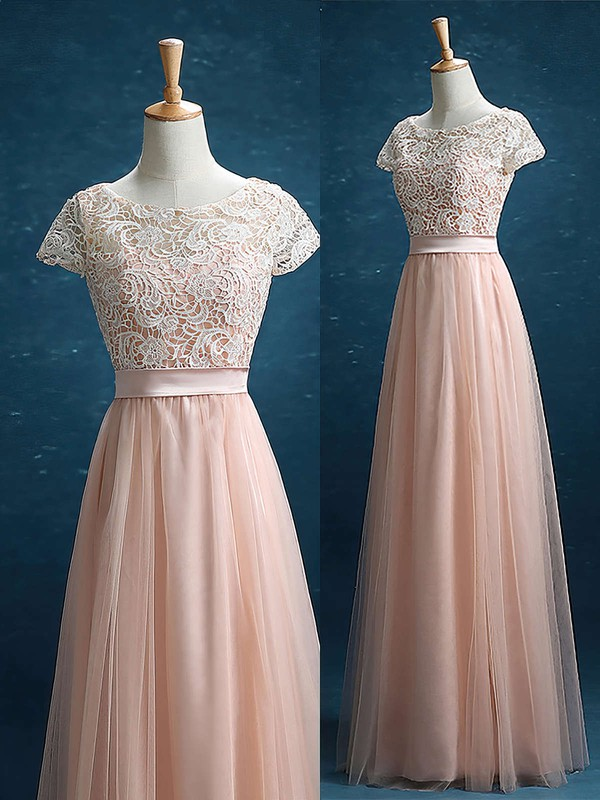 Junior Scoop Neck Lace Tulle Sashes / Ribbons Floor-length Short Sleeve Bridesmaid Dress #DOB01012895