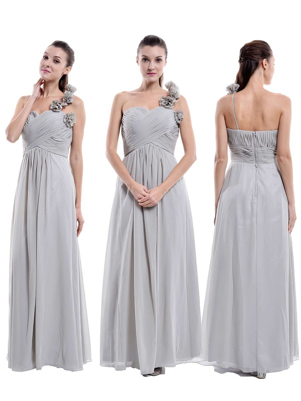 One Shoulder Chiffon Flower(s) Floor-length Hot Bridesmaid Dress #DOB01012896