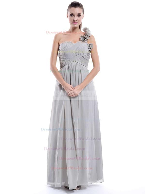 One Shoulder Chiffon Flower(s) Floor-length Hot Bridesmaid Dress #DOB01012896