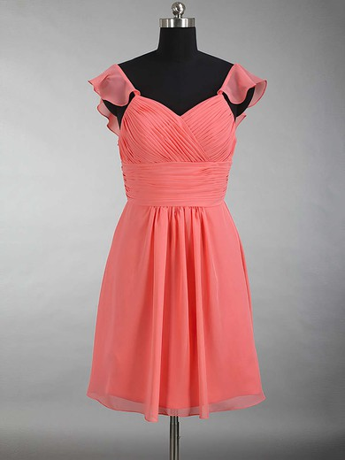 V-neck Chiffon Ruffles Beautiful Watermelon Short/Mini Bridesmaid Dress #DOB01012897