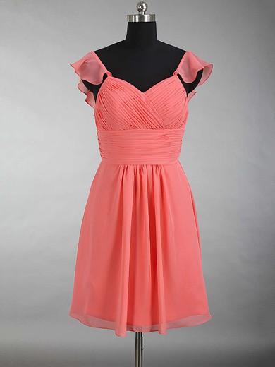 V-neck Chiffon Ruffles Beautiful Watermelon Short/Mini Bridesmaid Dress #DOB01012897