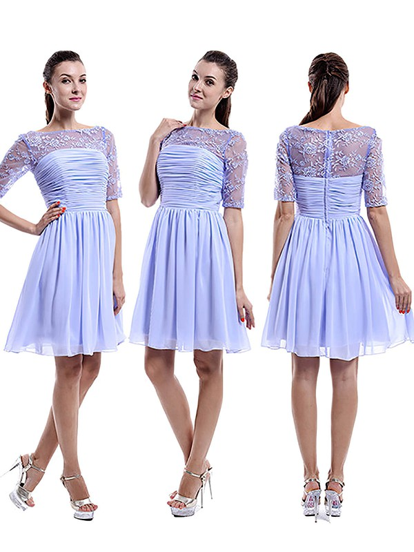 Nice Scoop Neck Chiffon Tulle Appliques Lace 1/2 Sleeve Knee-length Bridesmaid Dress #DOB01012898