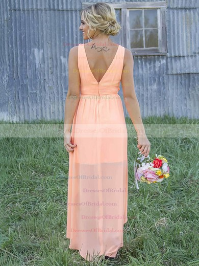 A-line Scoop Neck Chiffon Asymmetrical Appliques Lace Beautiful Bridesmaid Dresses #DOB01012899