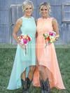A-line Scoop Neck Chiffon Asymmetrical Appliques Lace Beautiful Bridesmaid Dresses #DOB01012899