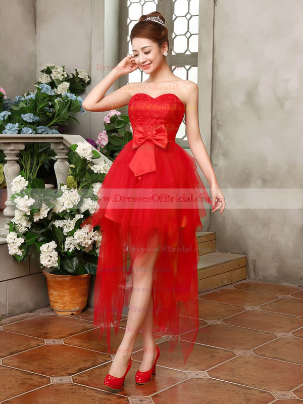 Glamorous A-line Sweetheart Lace Tulle with Bow Asymmetrical Bridesmaid Dresses #DOB01012901