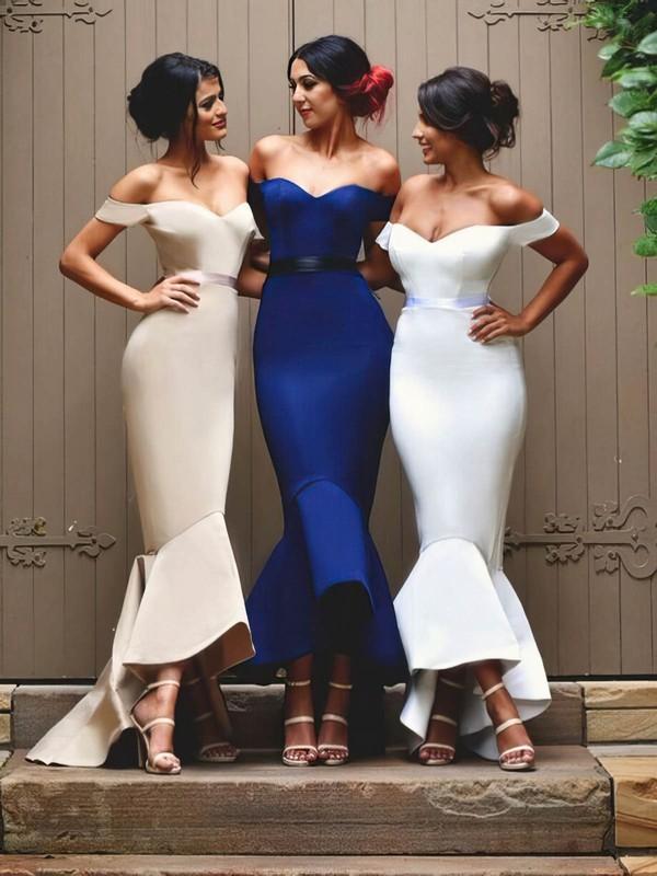 Trumpet/Mermaid Off-the-shoulder Elastic Woven Satin Asymmetrical Sashes / Ribbons Modern Bridesmaid Dress #DOB01012902