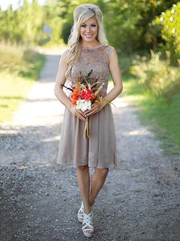 A-line Scoop Neck Lace Chiffon Knee-length Sashes / Ribbons Fabulous Bridesmaid Dresses #DOB01012903