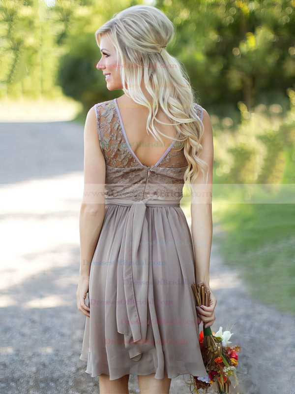 A-line Scoop Neck Lace Chiffon Knee-length Sashes / Ribbons Fabulous Bridesmaid Dresses #DOB01012903