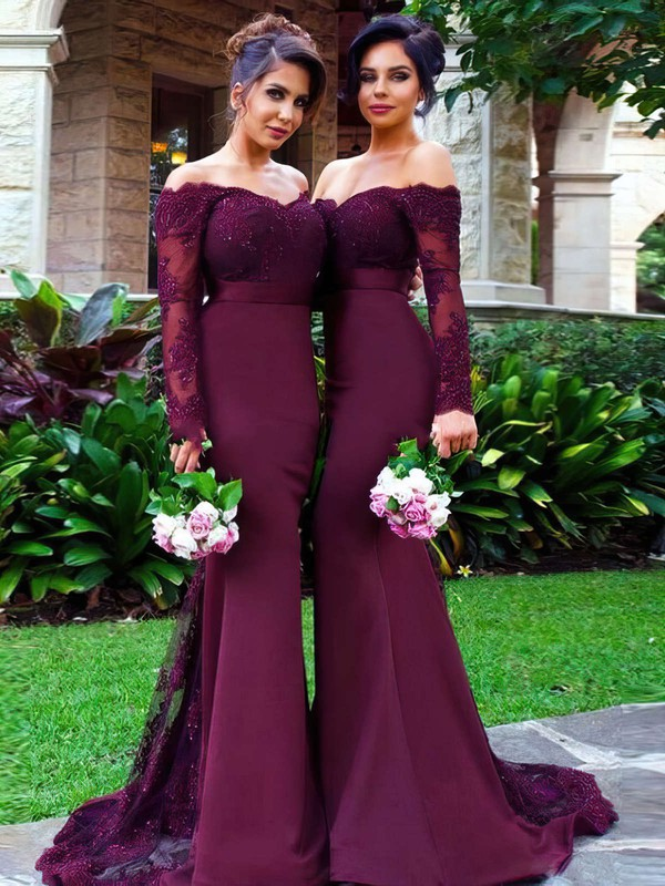 Trumpet/Mermaid Off-the-shoulder Tulle Silk-like Satin Sweep Train Appliques Lace Long Sleeve Bridesmaid Dresses #DOB01012904