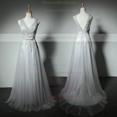 Perfect A-line V-neck Tulle Floor-length with Appliques Lace Bridesmaid Dresses #DOB01012905