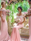 Trumpet/Mermaid Off-the-shoulder Silk-like Satin Sweep Train Appliques Lace Backless Bridesmaid Dresses #DOB01012906