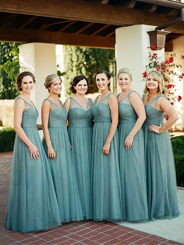 A-line V-neck Tulle Floor-length with Ruffles Affordable Bridesmaid Dresses #DOB01012907