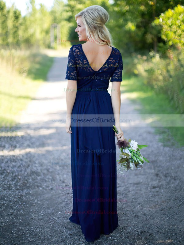 A-line Scoop Neck Lace Chiffon Floor-length Sequins Short Sleeve Bridesmaid Dress #DOB01012910