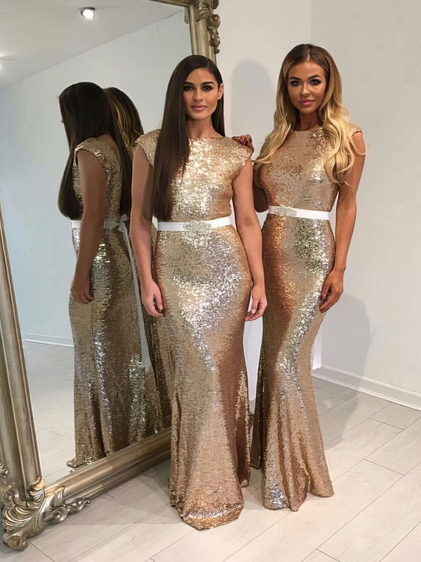 Trumpet/Mermaid Scoop Neck Sequined Floor-length Sashes / Ribbons Sparkly Bridesmaid Dresses #DOB01012911