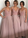 Princess V-neck Satin Floor-length with Beading Stunning Bridesmaid Dresses #DOB01012912