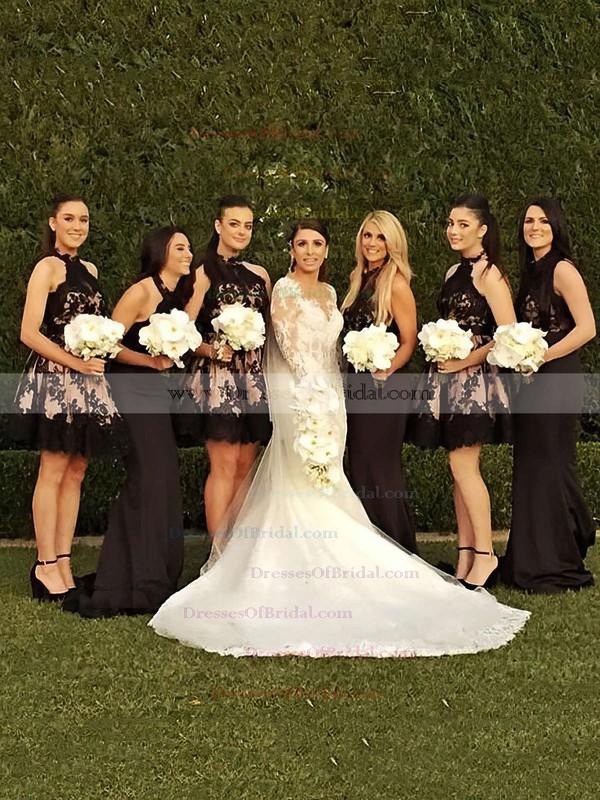 A-line High Neck Tulle Short/Mini Appliques Lace Classy Bridesmaid Dresses #DOB01012914