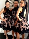 A-line High Neck Tulle Short/Mini Appliques Lace Classy Bridesmaid Dresses #DOB01012914
