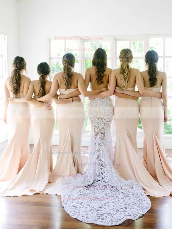 Simple Trumpet/Mermaid Sweetheart Silk-like Satin Sweep Train Sashes / Ribbons Bridesmaid Dress #DOB01012915