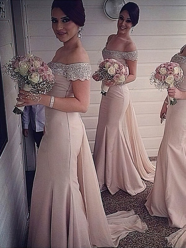 Trumpet/Mermaid Off-the-shoulder Chiffon Watteau Train Beading Modest Bridesmaid Dresses #DOB01012916