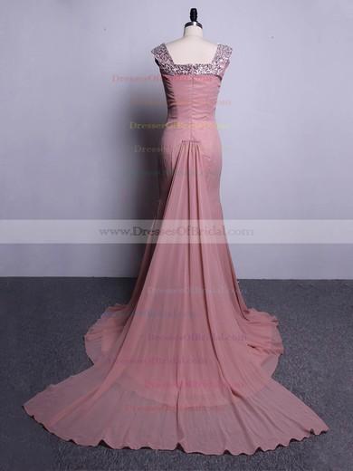 Trumpet/Mermaid Off-the-shoulder Chiffon Watteau Train Beading Modest Bridesmaid Dresses #DOB01012916