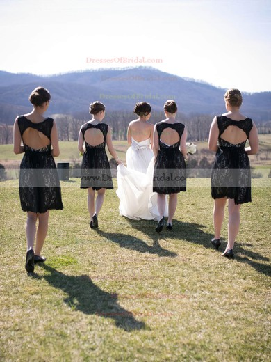 A-line Scoop Neck Lace Knee-length Sashes / Ribbons Black Open Back Bridesmaid Dresses #DOB01012917