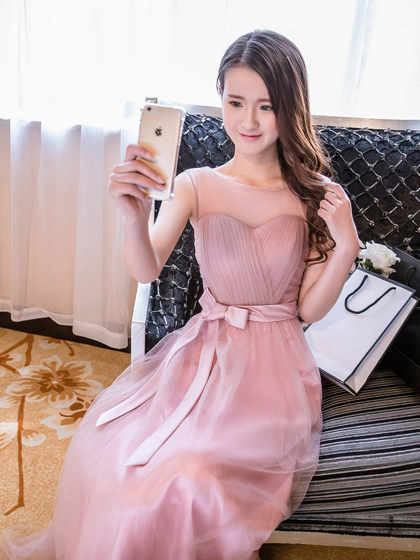 A-line Scoop Neck Tulle Floor-length Sashes / Ribbons Sweet Bridesmaid Dresses #DOB01012918