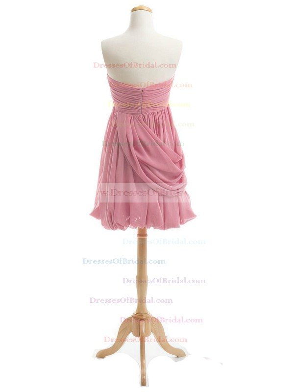 Inexpensive Sheath/Column Sweetheart Chiffon Short/Mini Ruffles Bridesmaid Dresses #DOB01012919